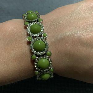 Lia Sophia stretchy green and silver bracelet
